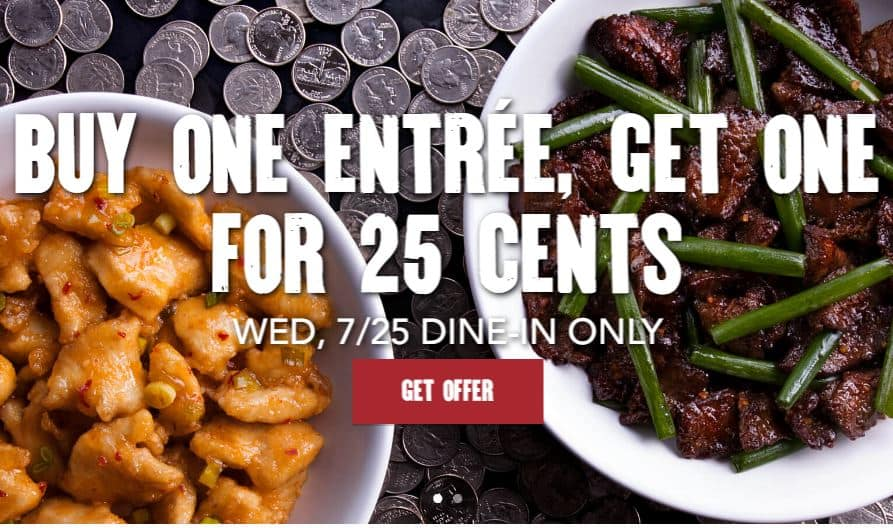 PF Changs - Buy 1 Entree, Get 2nd Entree for only $.25 cents Today Only (Dine In)