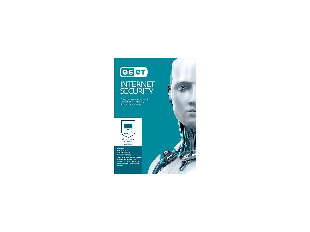 ESET Internet Security 2017 - 3 PCs (Free upgrade to 2018) Use Promo code 705MQTYS60 $24.02