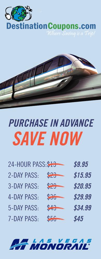 Las Vegas Monorail Passes - 30% Off $9.95