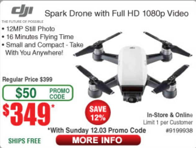 dji Spark drone $349 at Fry's