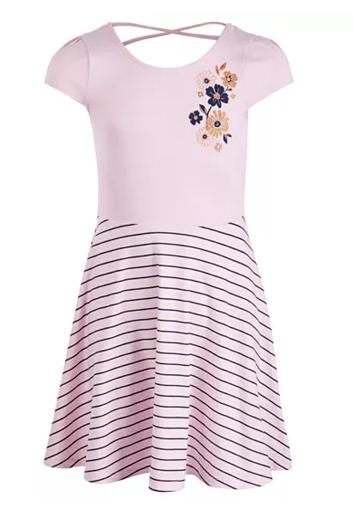 $7.99 Big Girls Flower Striped Dress, Created for Macy's
