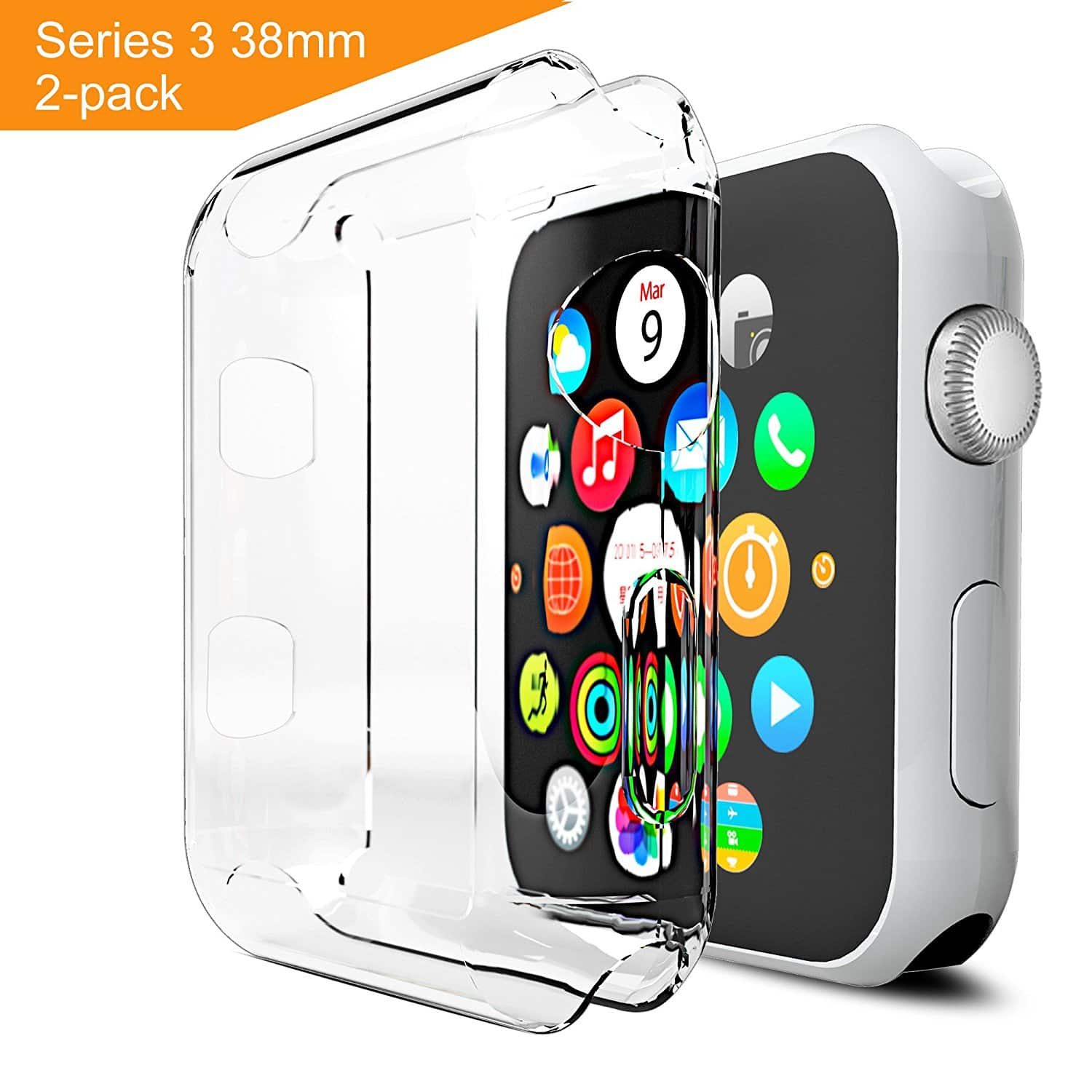 best service 5e2bb 1e6f8 30% Off on amazon Arae Apple watch 3 case & screen protector [2-pack ...