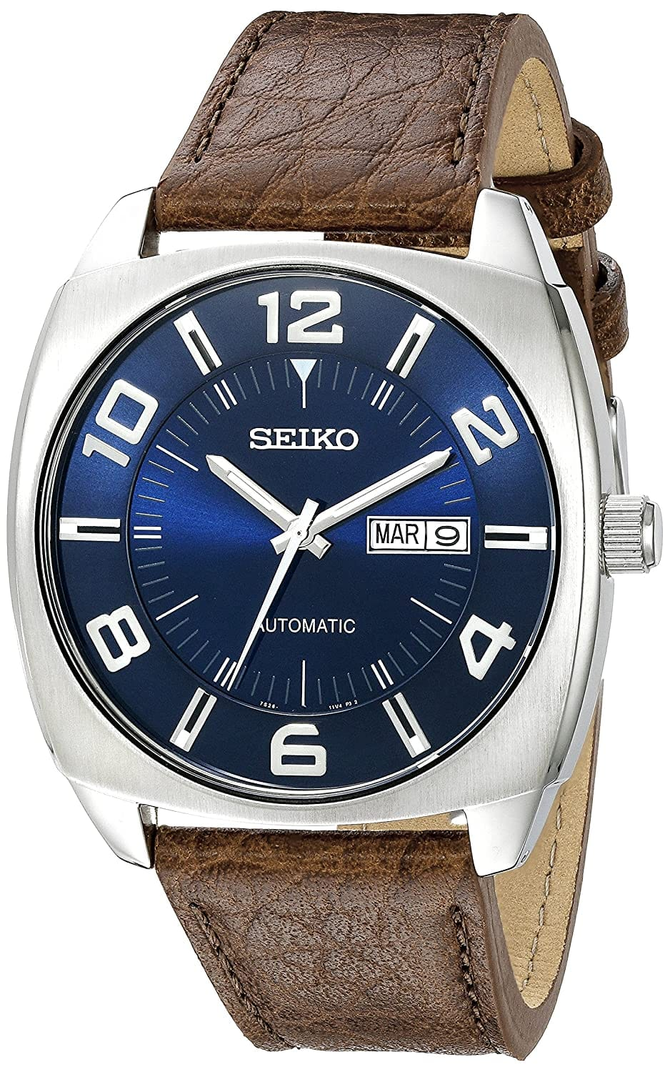 Seiko Men's SNKN37 Stainless Steel Automatic Self-Wind Watch with Brown Leather Band - Amazon $98.98 Free Shipping and return