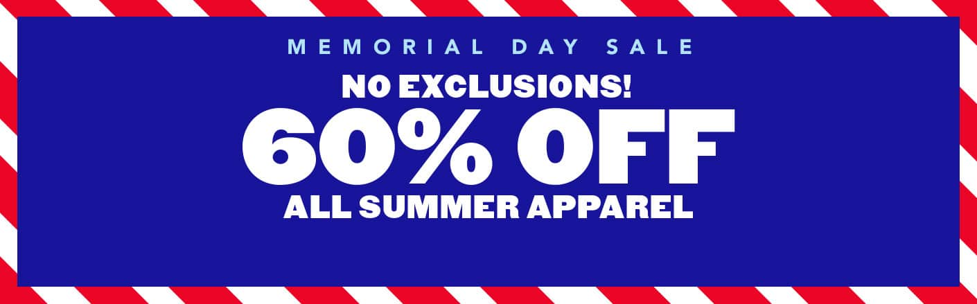 60% off Summer Apparel sale.  Prices as low as $2.99 + Free Shipping@childrensplace