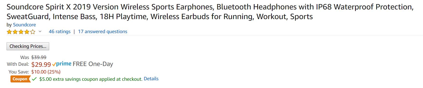 Soundcore Spirit X 2019 Version Bluetooth Sports Headphones with IP68 Waterproof Protection $24.99