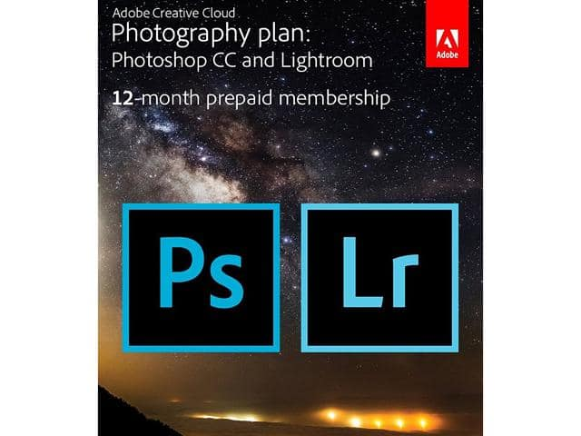1-year subscription Adobe Creative Cloud Photography Plan with 20GB storage (Photoshop CC + Lightroom CC)  (Download) $89.99