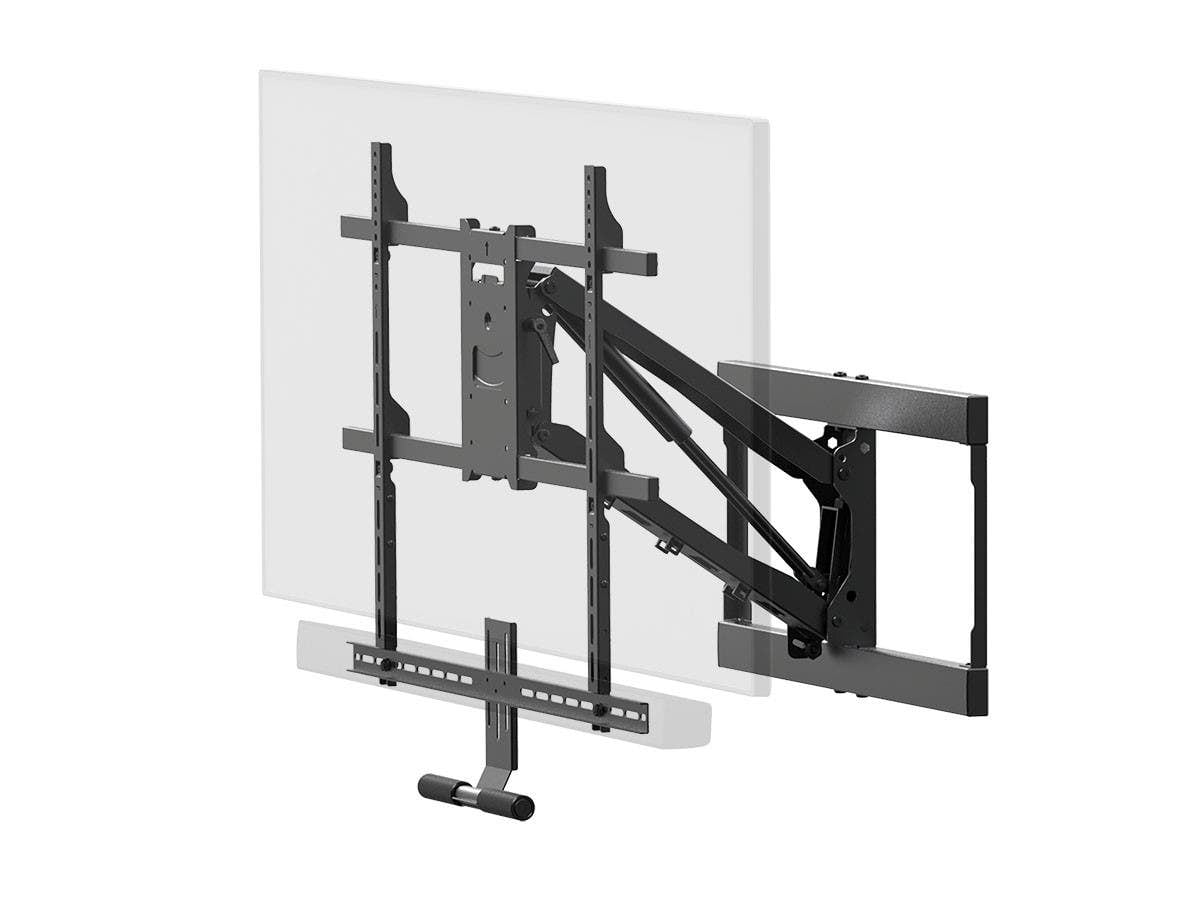 Monoprice Above Fireplace Pull-Down Full-Motion Articulating TV Wall Mount w/ Optional Soundbar Mount- For TVs 55in to 80in, Max Weight 132lbs, $143.99 after coupon, Free Shipping