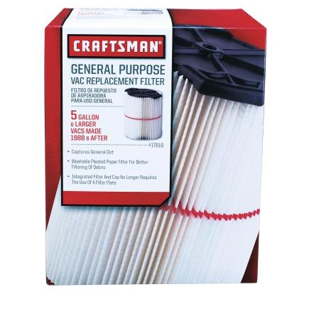 Craftsman General Purpose Red Stripe Vac Cartridge Filter $8-$9 (Reg $17)  Free in store pick-up at Sears/Kmart.