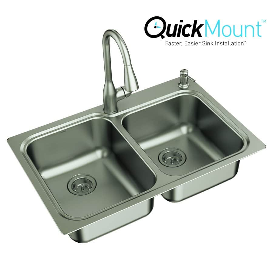 Moen Double-Basin Stainless Steel Kitchen Sink All-In-One Kit $270 (Reg $370)  Free delivery at Lowes. 10/10/17 only.
