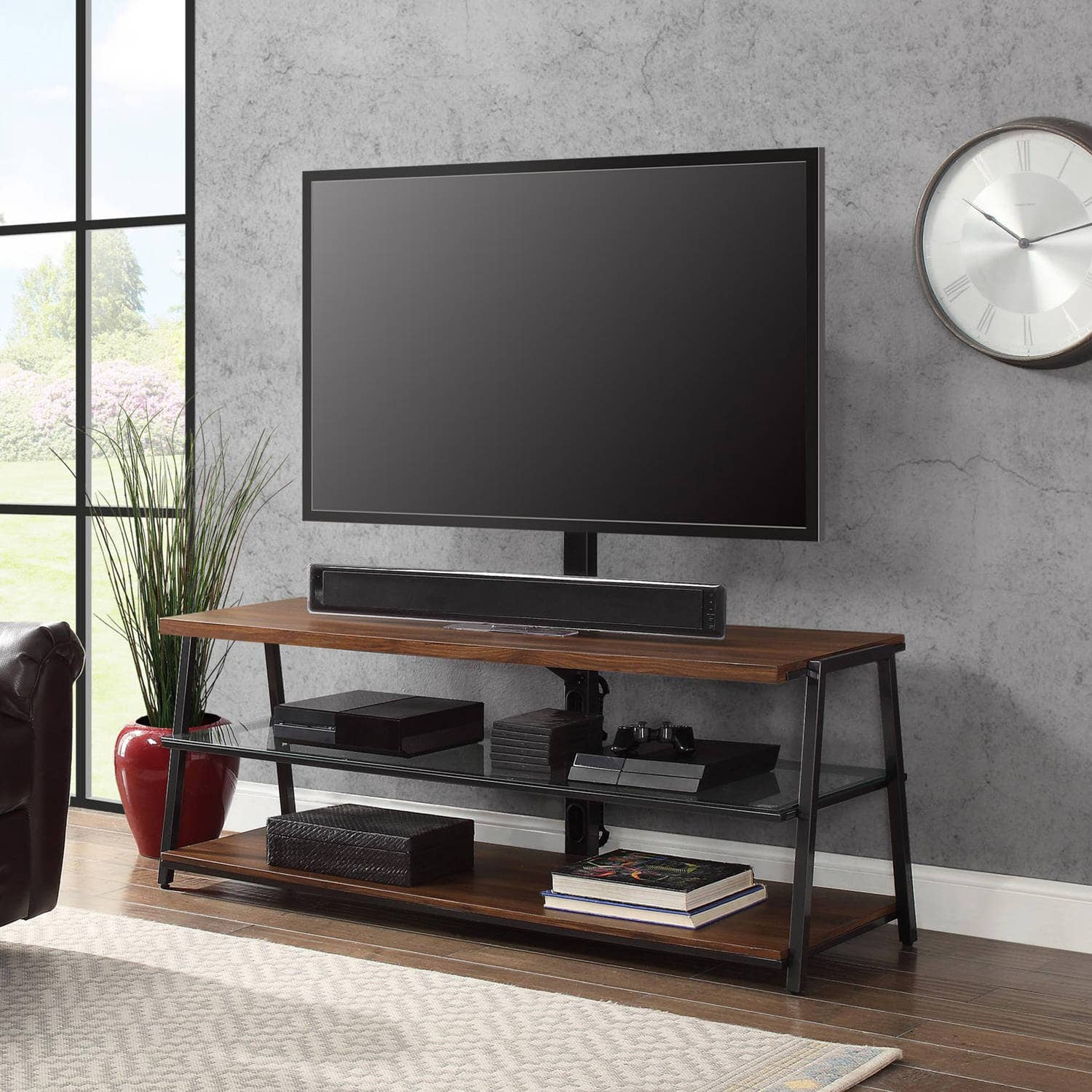 "Mainstays 3 in1 TV Stand for TVs up to 70"" Medium Brown"