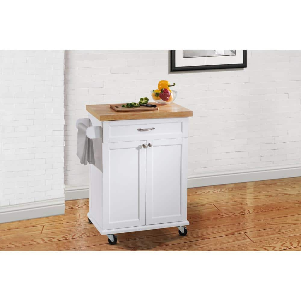 Ashby White Kitchen Cart $90.  Reg $149.  Free shipping from Home Depot.