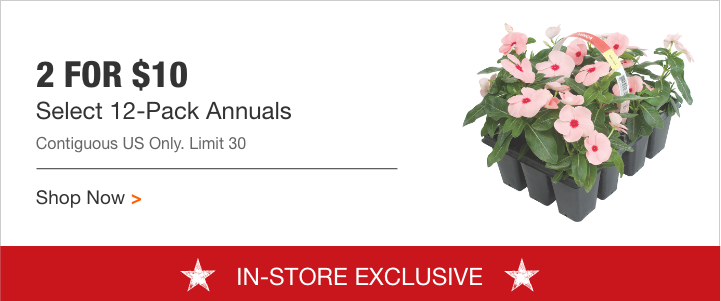Annual Flowers 12 pack $5.  Reg $10.  In store only at Home Depot.  5/18/18 only.