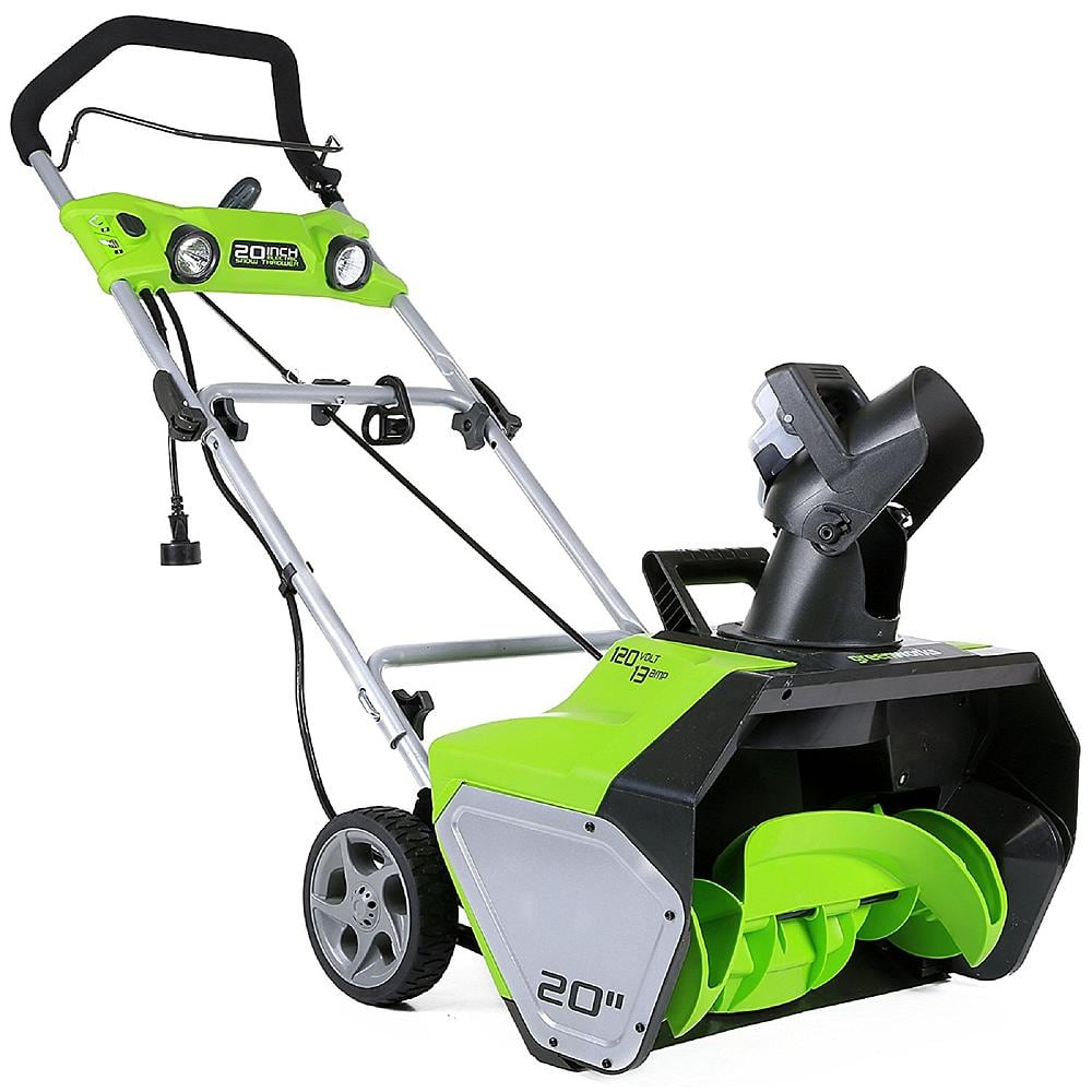Greenworks 20-Inch 13 Amp Corded Snow Thrower With Light Kit $100. Reg $142. Get $125 SYW points. Free shipping from Kmart.