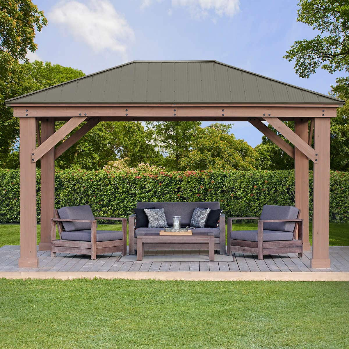 12' x 16' Cedar Gazebo with Aluminum Roof $1799.99