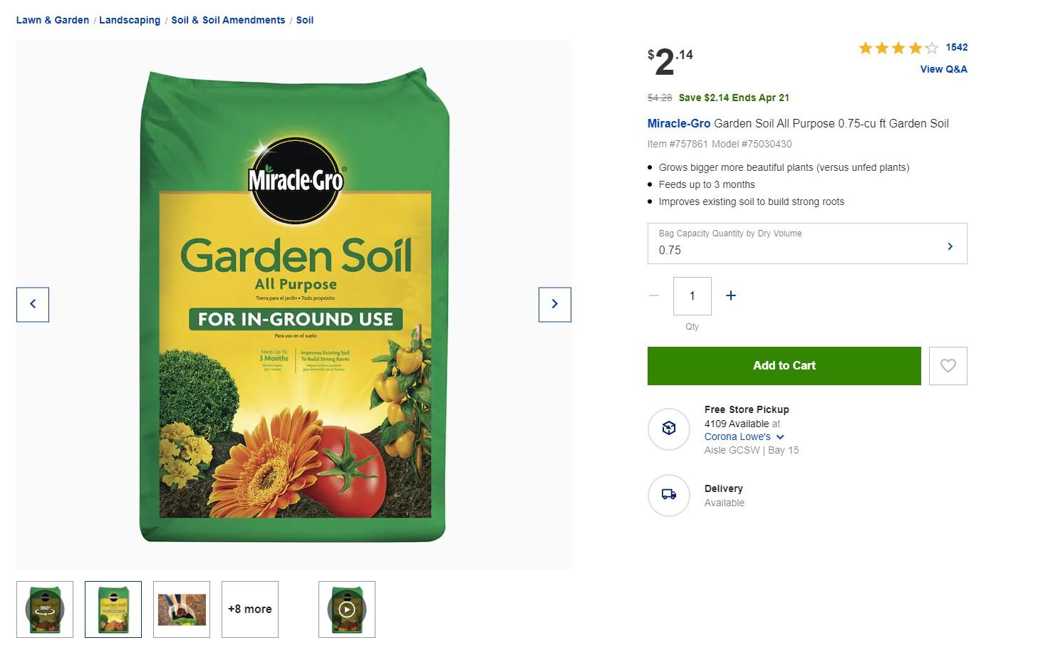 Garden Soil All Purpose 0.75-cu ft Garden Soil   50% OFF $2.14