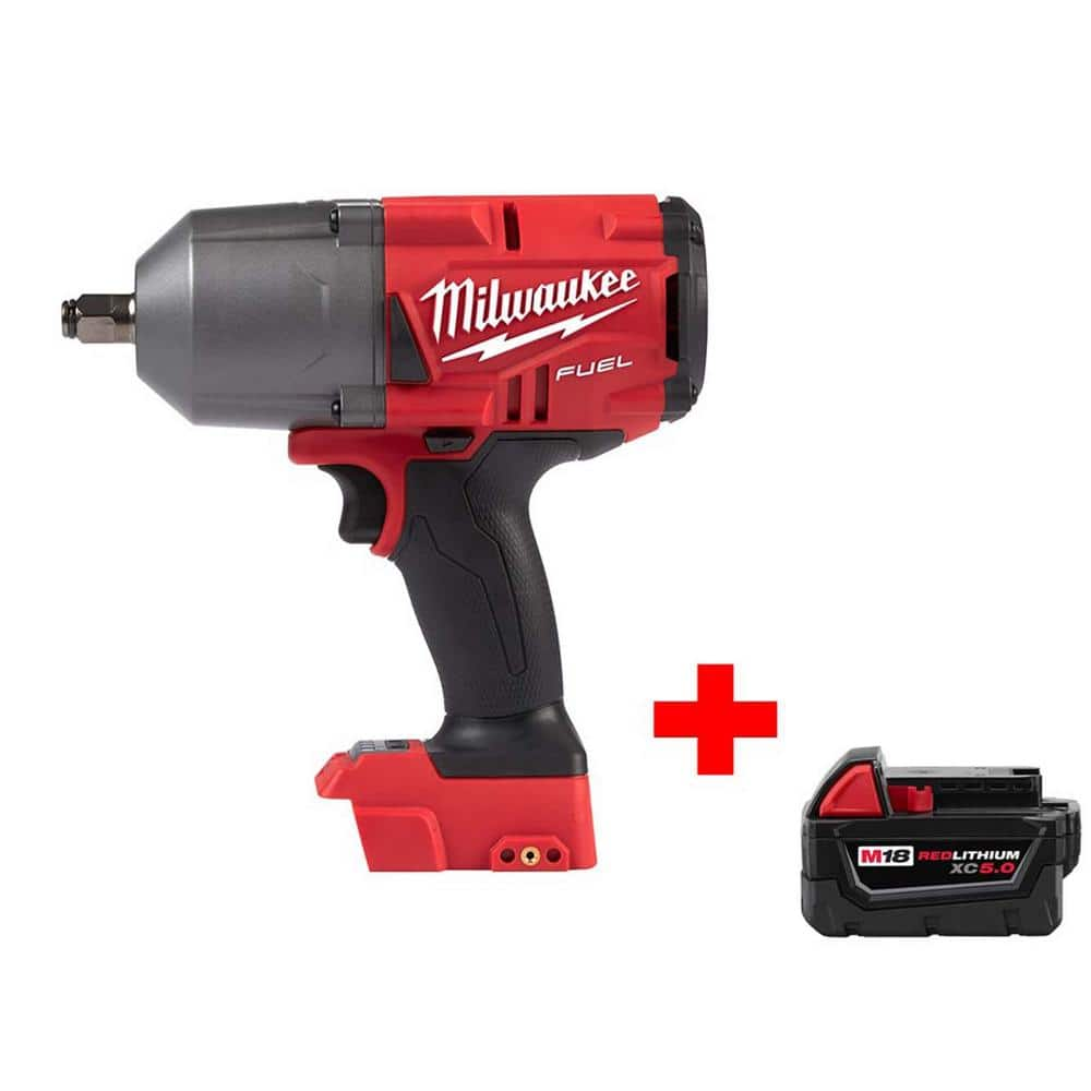 Milwaukee M18 FUEL 18-Volt Lithium-Ion Brushless Cordless 1/2 in. Impact Wrench with Friction Ring with Free M18 5.0Ah Battery $249