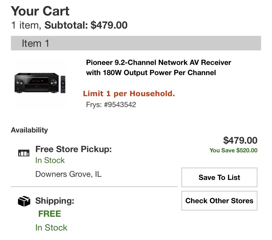 Pioneer Elite VSX-LX503 9.2 Dolby atmos / DTS X $479 Free shipping