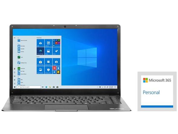 "1 year Microsoft 365 + EVOO 14.1"" Notebook, Full-HD Display, Intel N3350 Dual-Core, 64GB Solid State Drive, 4GB DDR3 Win10H in S-Mode $189.99"