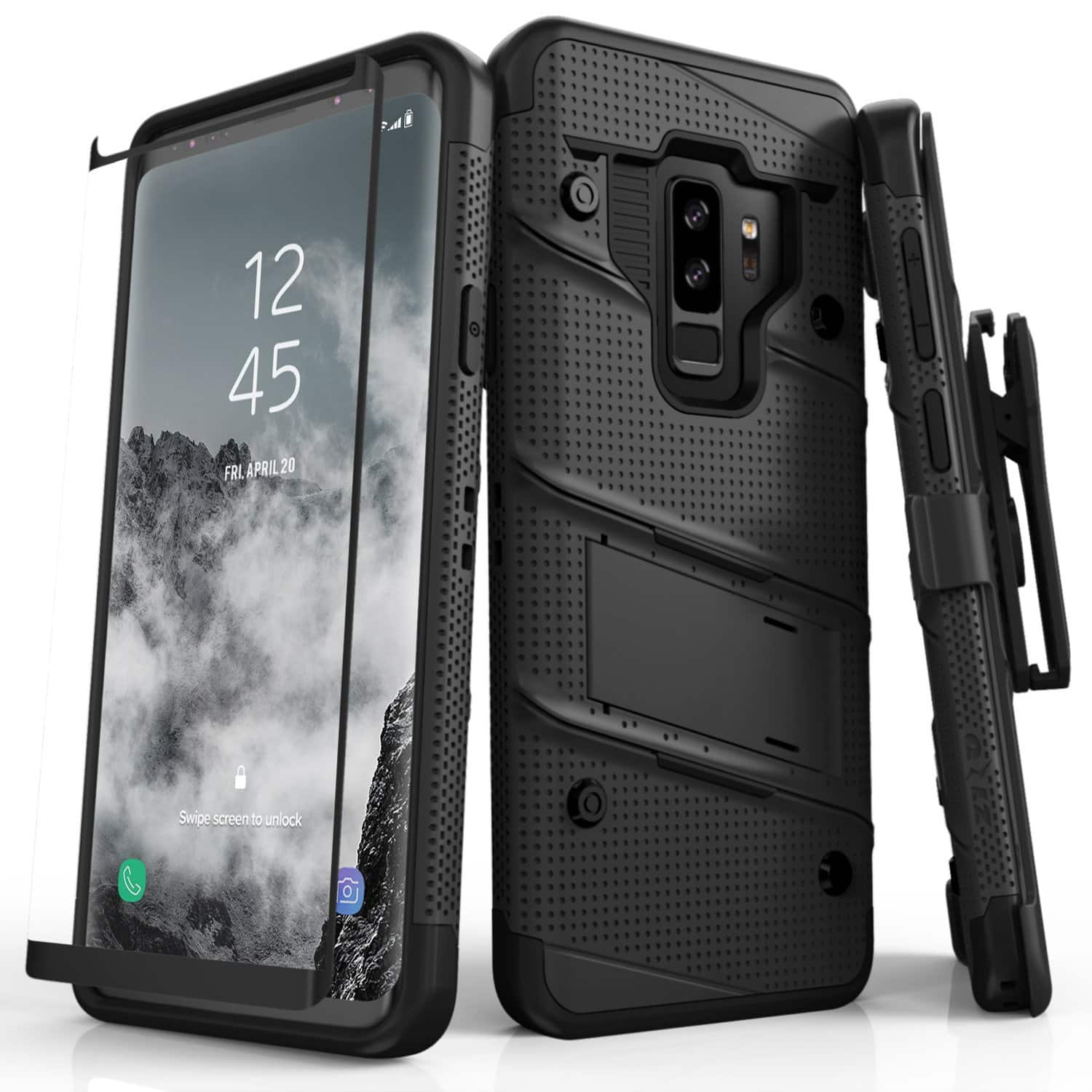 Zizo Bolt Series Samsung Galaxy S9 Plus Case - Full Curved Glass Screen Protector with Holster and 12ft Military Grade Drop Tested $16