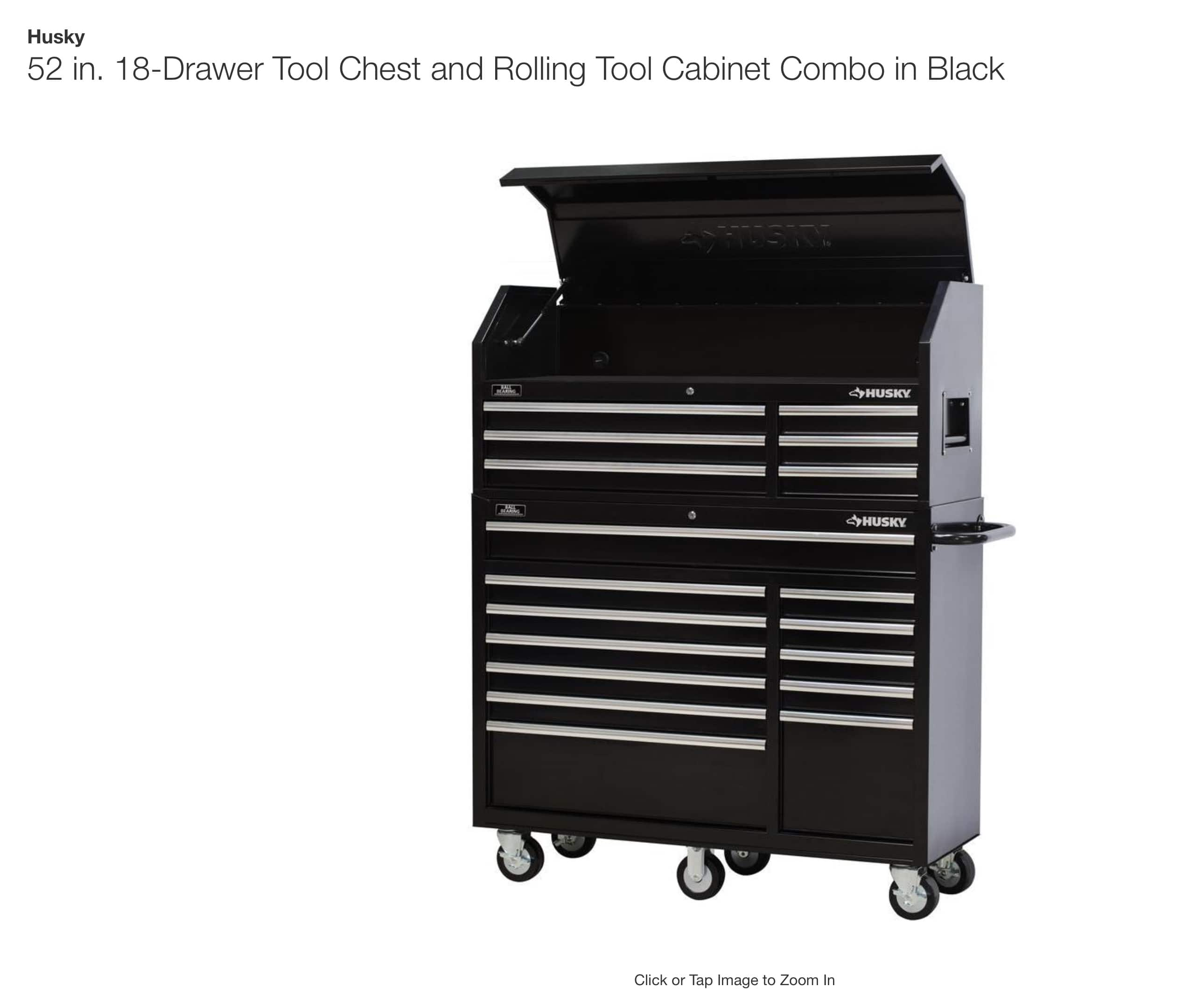 HUSKY 52 in. 18-Drawer Tool Chest and Rolling Tool Cabinet Combo in Black $498 Local pickup only