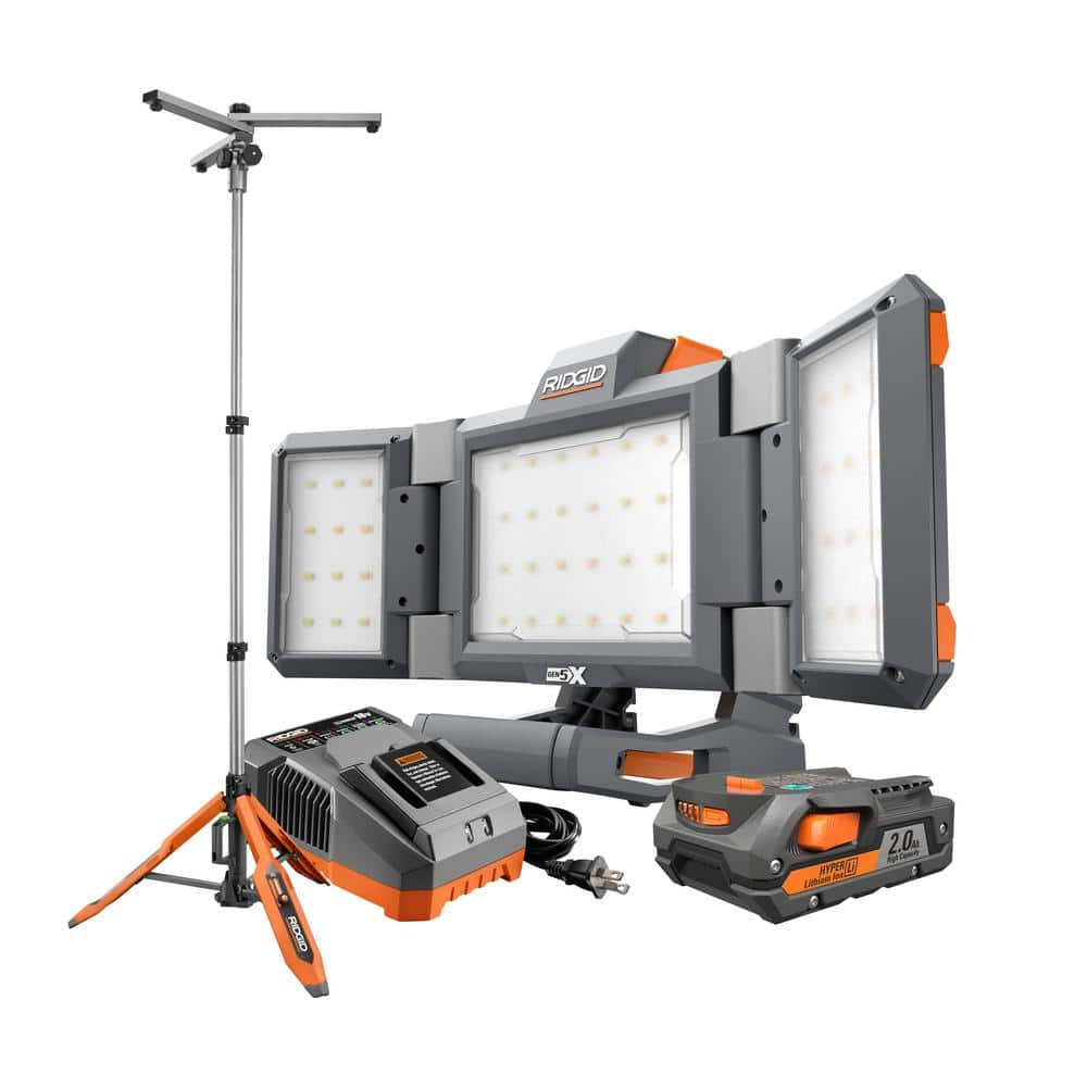 18-Volt Lithium-Ion Cordless Hybrid Panel Light Kit with 7 ft. Universal Stand with (1) 2.0 Ah Battery and Charger $159