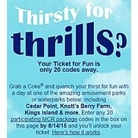 Deal: My Coke Rewards enter 20 codes for a Cedar Fair ticket including Cedar Point, Knott's Berry Farm, & more..