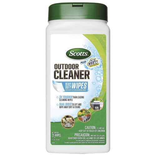 Scotts Outdoor Cleaner Wipes plus Oxy Clean.  Lowes Clearance $1.76. Clearance so its YMMV