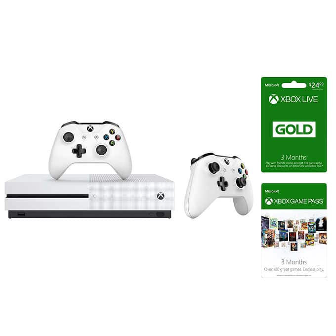 Xbox One S 500GB Bundle with 3-month Xbox Live Card - 3-month Game Pass and Extra Controller $199.99