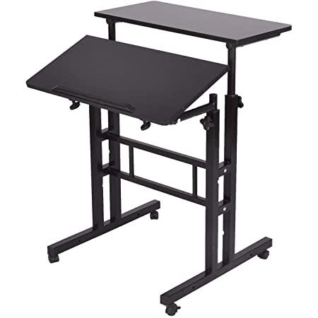 Mind Reader 2-Tier Adjustable Sit and Stand Mobile Workstation Desk (Black or Oak) for $42.50 Amazon Prime