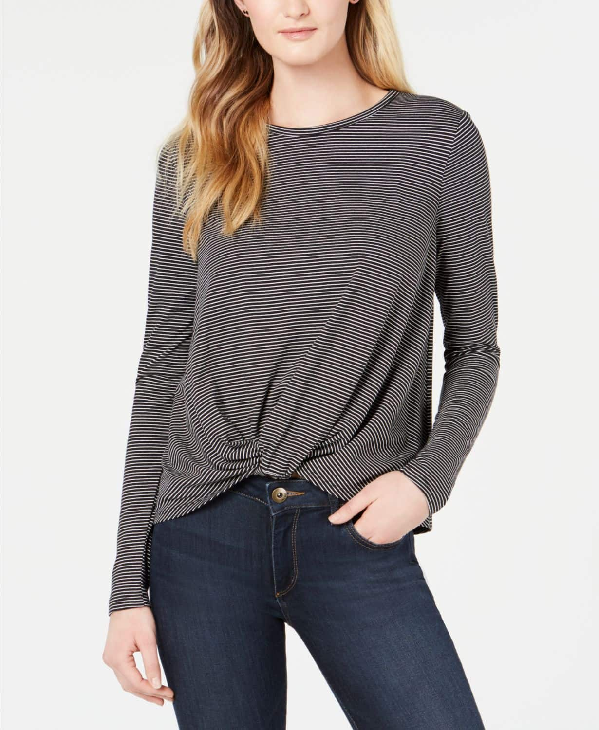 Striped Knot-Front Top, Created for Macy's $9.96