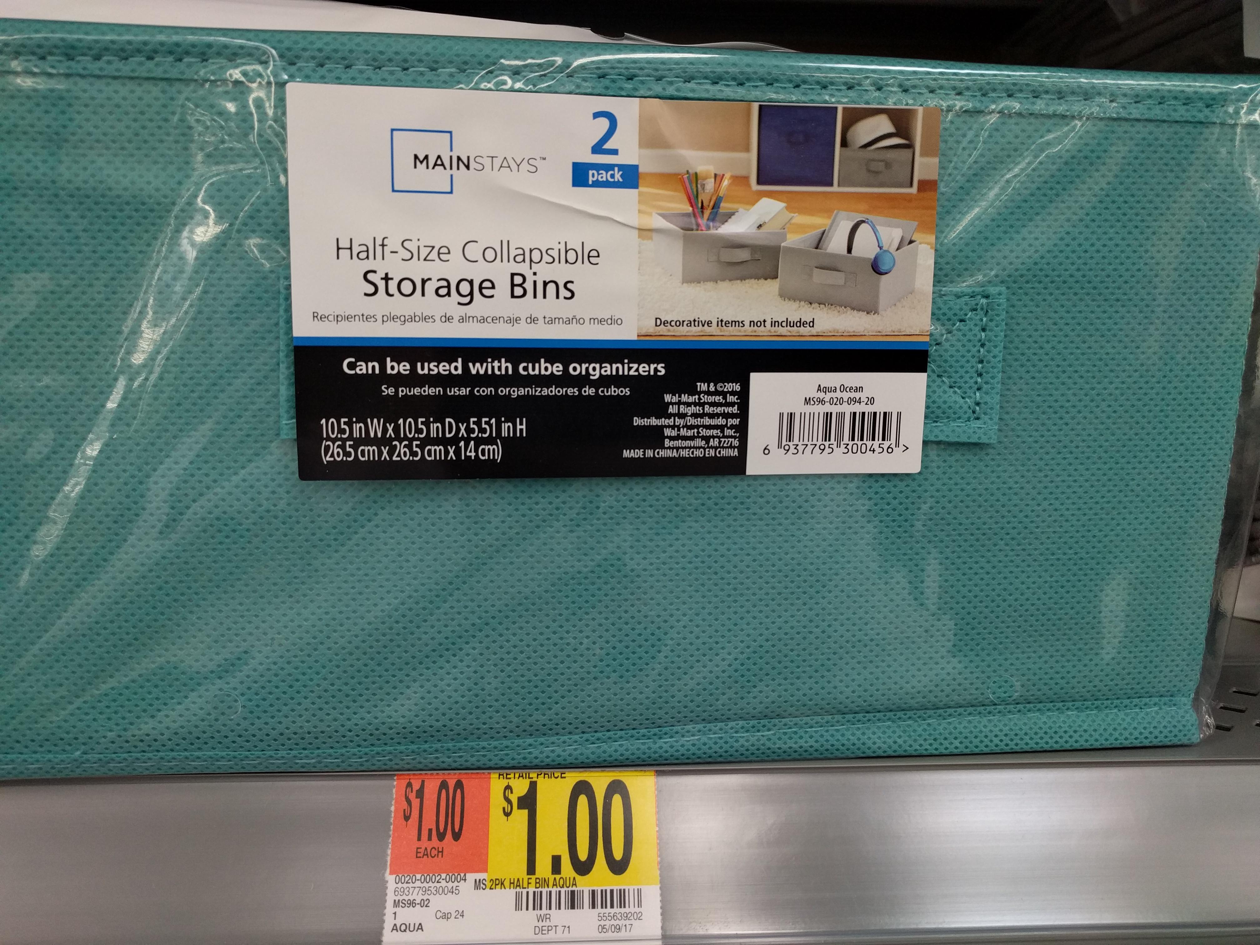 $1.00 Mainstays 2 pack Half Bin Storage Aqua Ocean @ Walmart In Store Only YMMV
