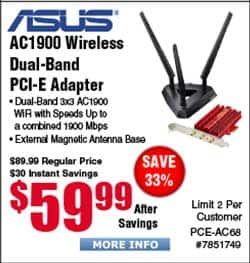 ASUS PCE-AC68 Dual-Band Wireless-AC1900 PCIe Adapter $59.99 @ Frys $39.99