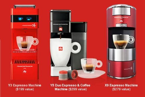 free illy espresso machine (X9, Y5 Duo, or Y3) with purchase of 2 cases of illy capsules