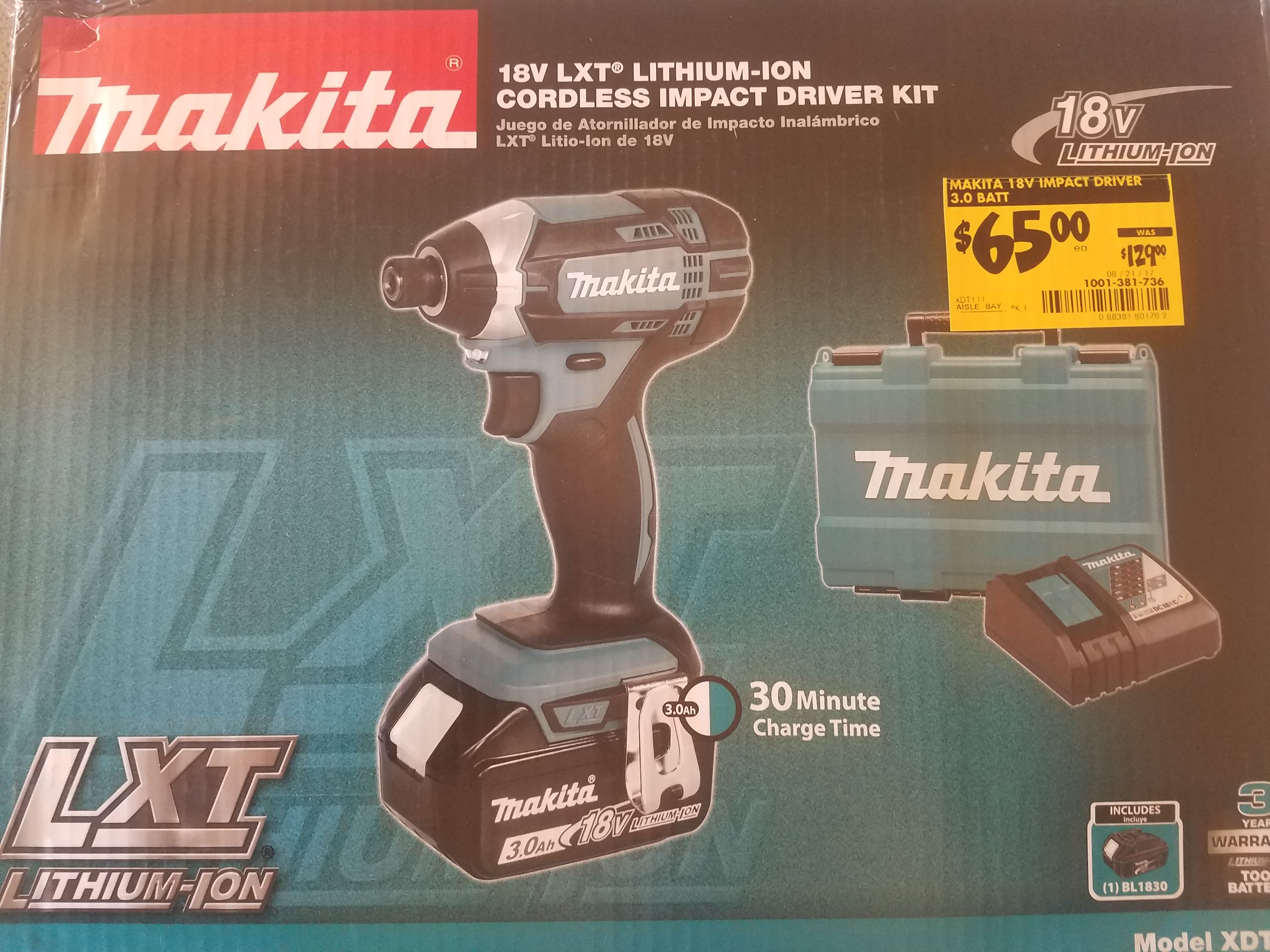 Makita 18v Drill or Impact Driver with Case, Charger, 3 0