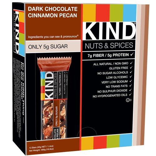 KIND Bars, Dark Chocolate Cinnamon Pecan, Gluten Free, 1.4 Ounce Bars, 12 Count - $7+FS (Add-On)