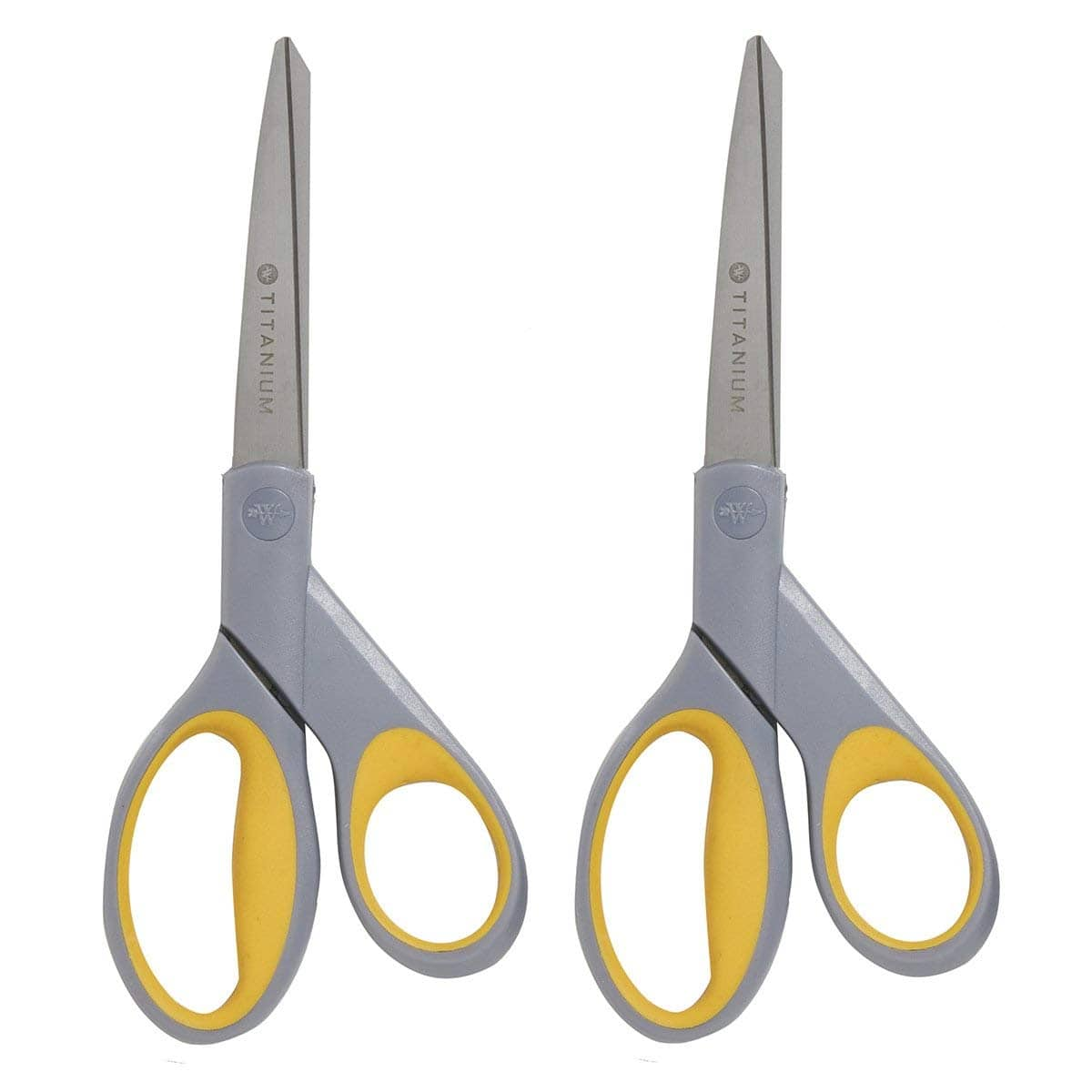 "Westcott 13901 8"" Straight Titanium Bonded Scissors, Grey/Yellow, 2 Per Pack - $6+FS (Add-On)"