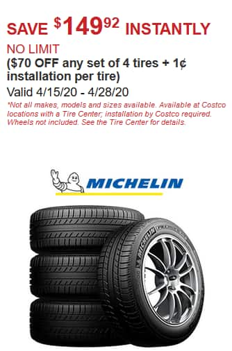 Costco Members: 4/15-4/28 -  $150 off Instantly Set of 4 Michelin Tires