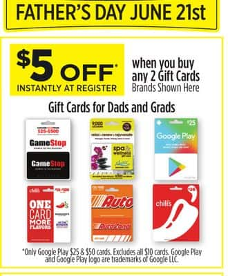gamestop and other gift cards (buy 2x$25 save $5) b & m $45