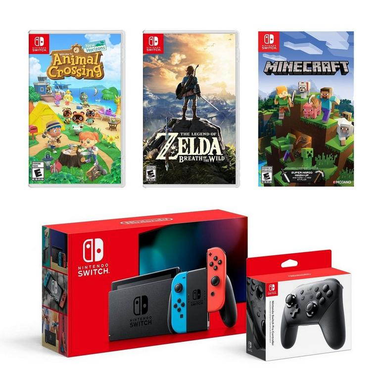 Nintendo Switch Red Blue Gamer Bundle Includes Animal Crossings