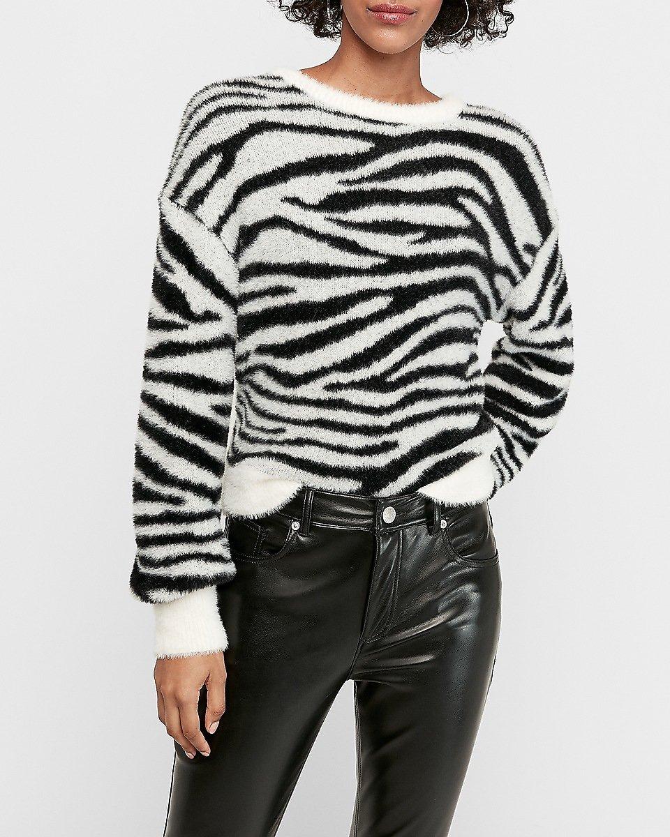 Fuzzy Animal Print Balloon Sleeve Sweater (2 Colors) $29 +fs