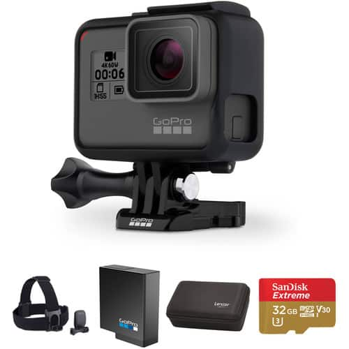 GoPro HERO6 Black Kit with Head Strap, Extra Battery, Zipper Case, and 32GB microSD Card $499