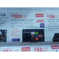 "Costco Wholesale Deal: JVC 65"" Class 1080p 120Hz Smart LED $899.99 AC w/free Roku stick"