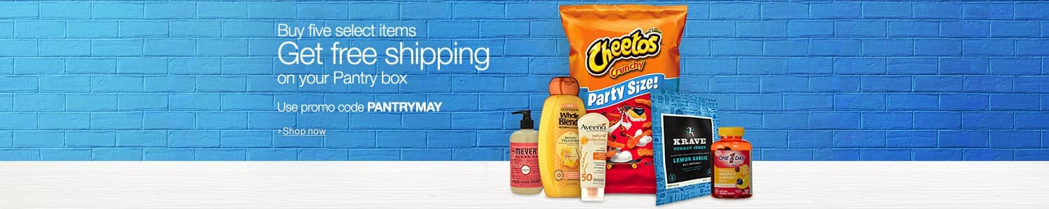 Amazon prime pantry free shipping with purchase of 5 select items with code PANTRYJUN