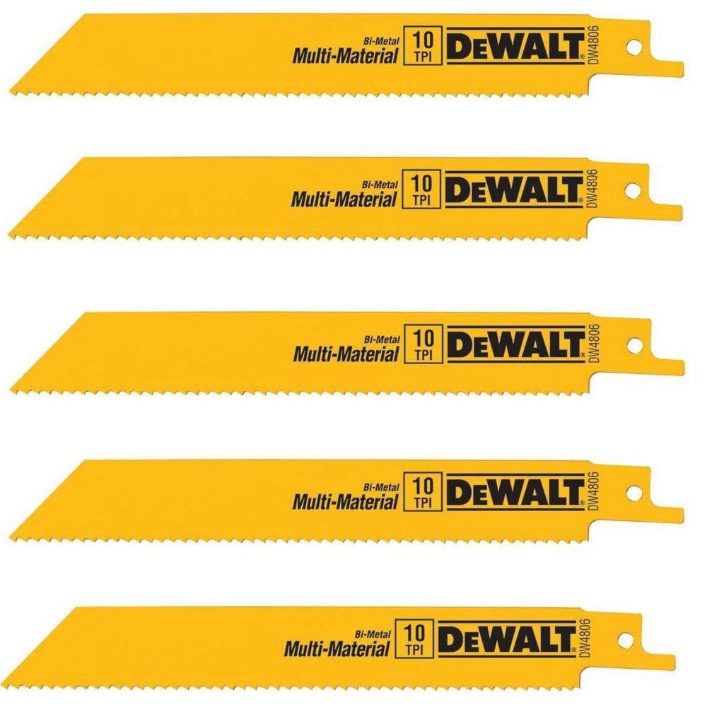 DEWALT 6 in. 10 Teeth per in. Bi-Metal Reciprocating Saw Blade (5-Pack) $4.82 at Home Depot