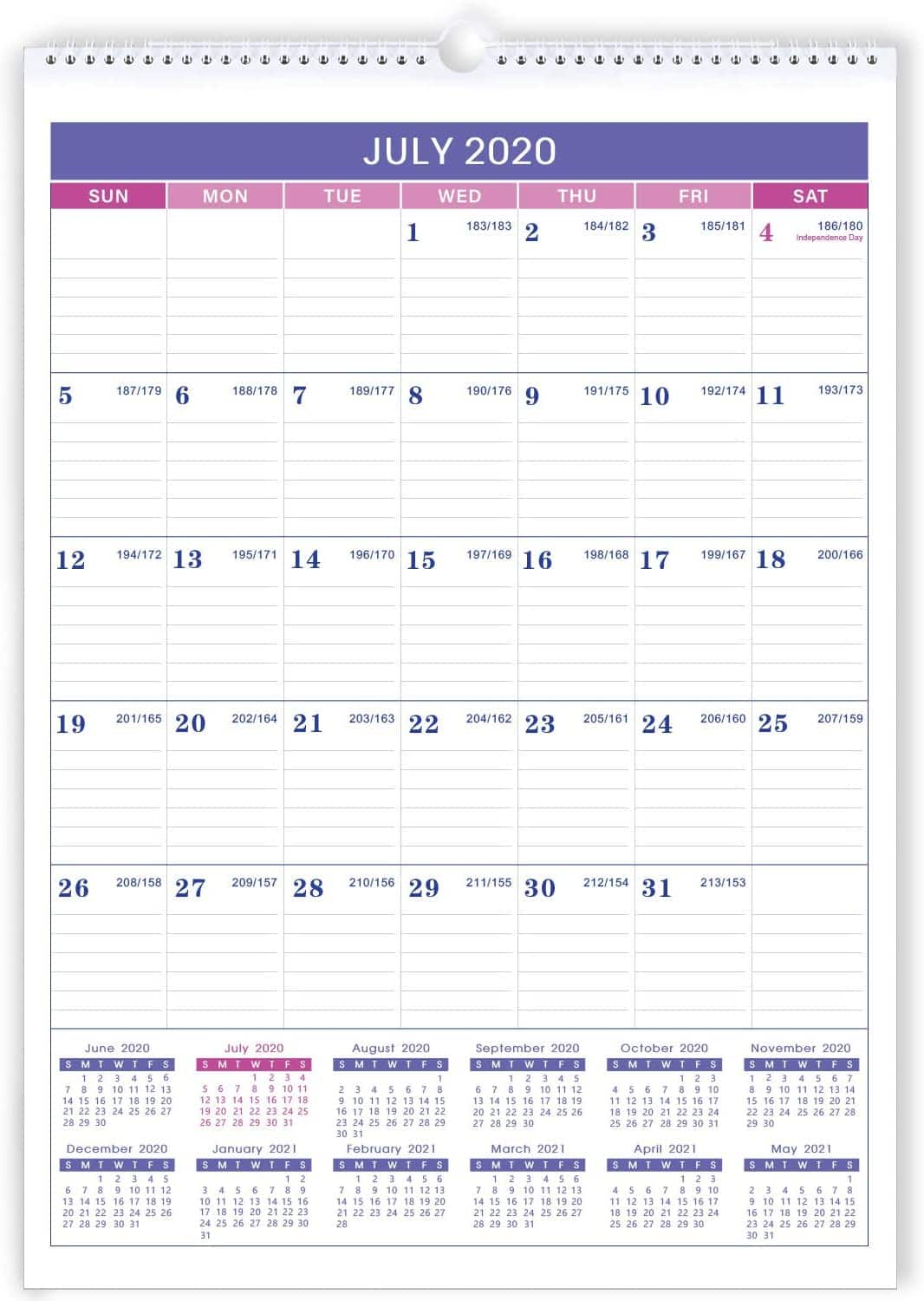 """2020-2021 18 Months Wall Calendar Large 12"""" x 17"""", Perfect for Office & Home $4.49"""