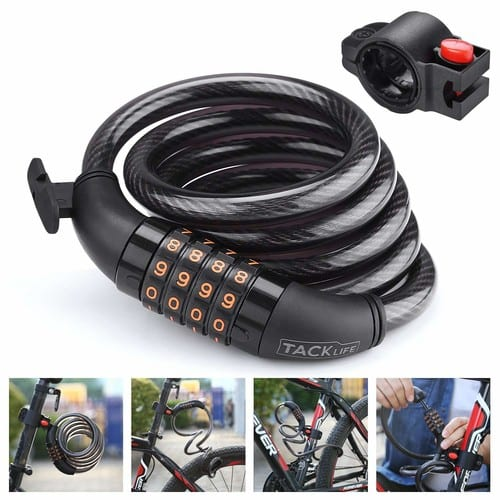 TACKLIFE HCL1C 4-Feet Resettable Combination Bike Cable Lock $5.99