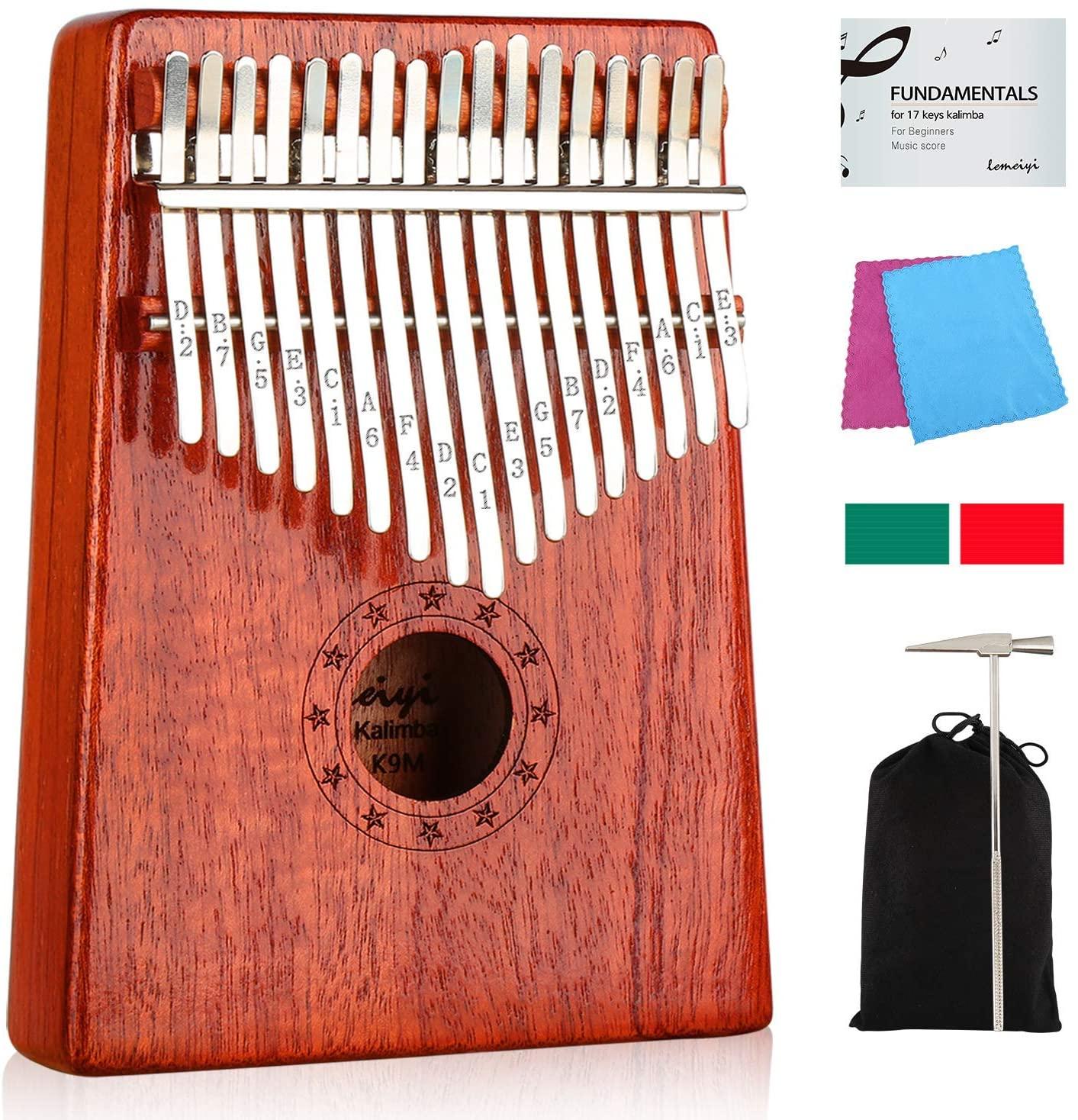 Amazon.com: Kalimba 17 Keys Thumb Piano with Study Instruction and Tune Hammer, Portable Wood Finger Piano $12