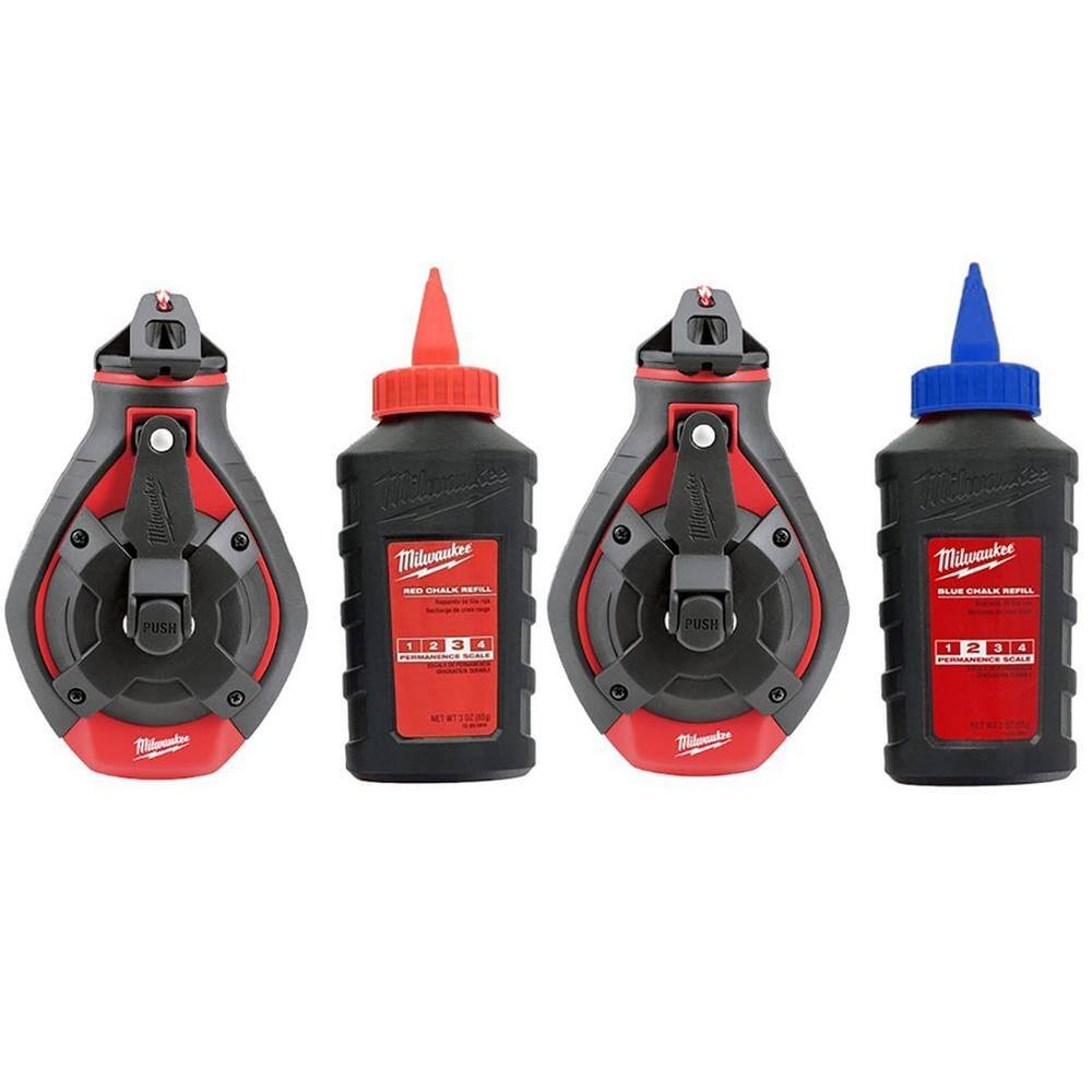 Milwaukee 100 ft. Bold Line Chalk Reel Kit with Red and Blue Chalk (2-Pack) $18.97