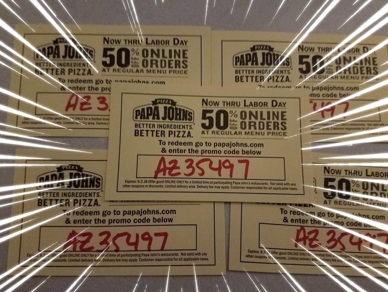 Phoenix area only: Papa Johns 50% off any regular menu priced item!