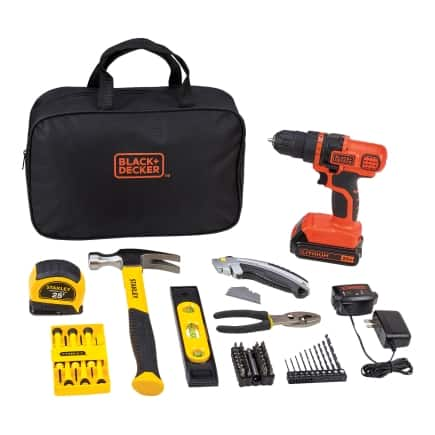 Black+Decker and Stanley 66 pc. Cordless Drill Driver and Home Project Kit Lithium-Ion 20 volts(BDPK $ 60 $60